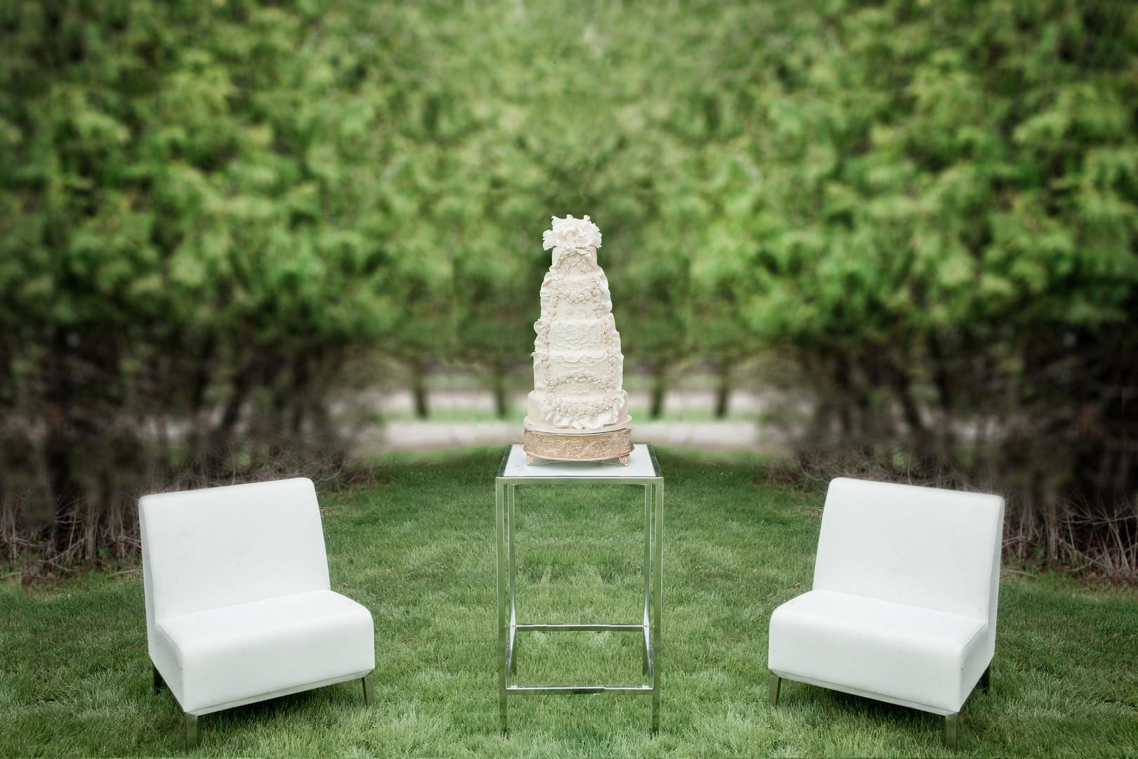 Tall white wedding cake