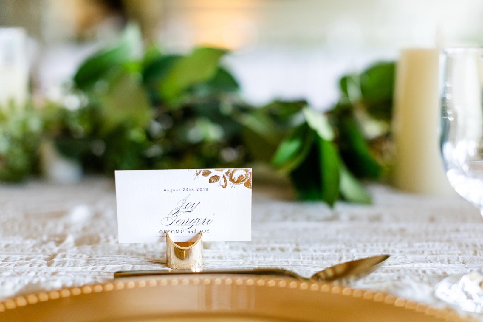 Place card with gold details
