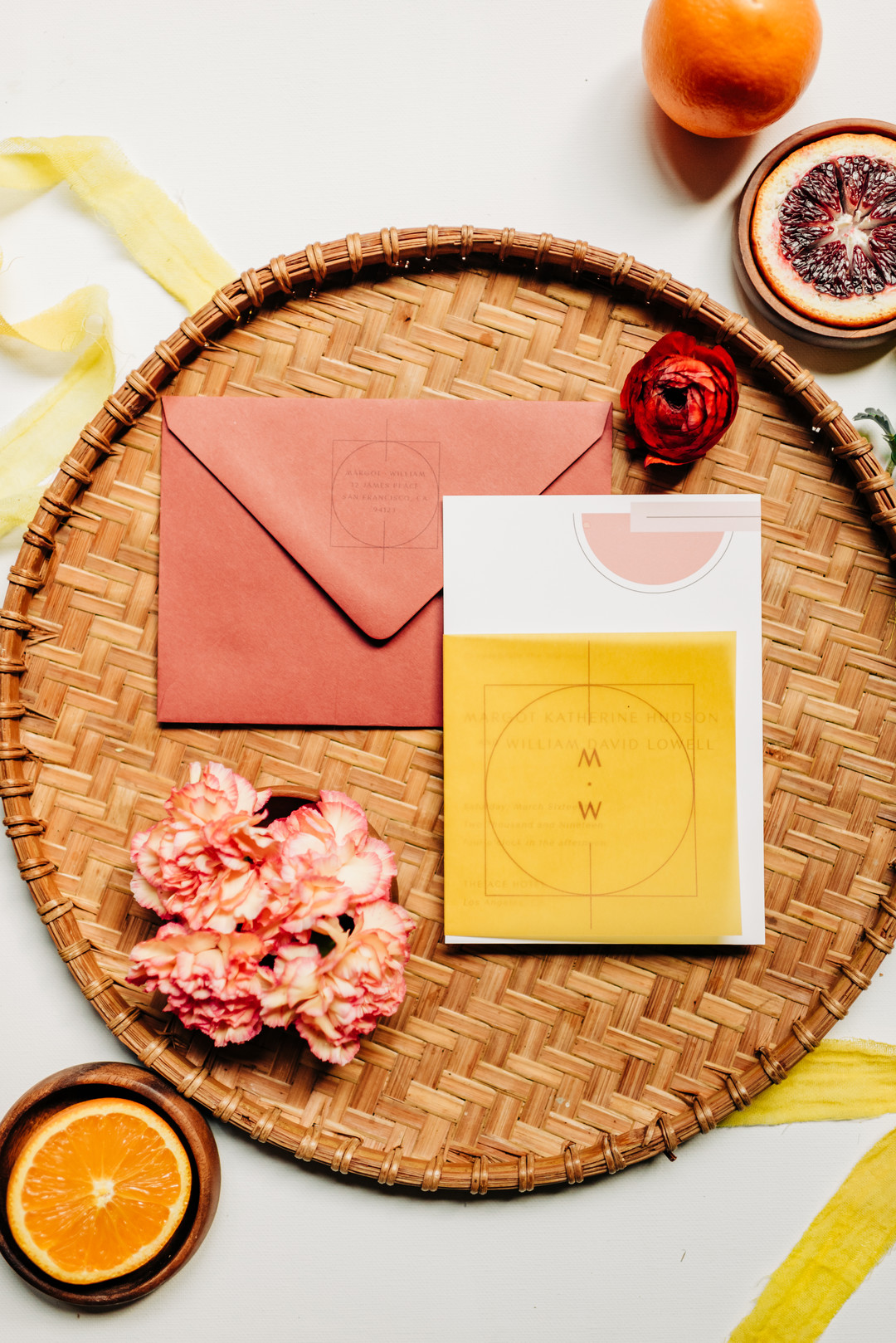 yellow and peach invitations