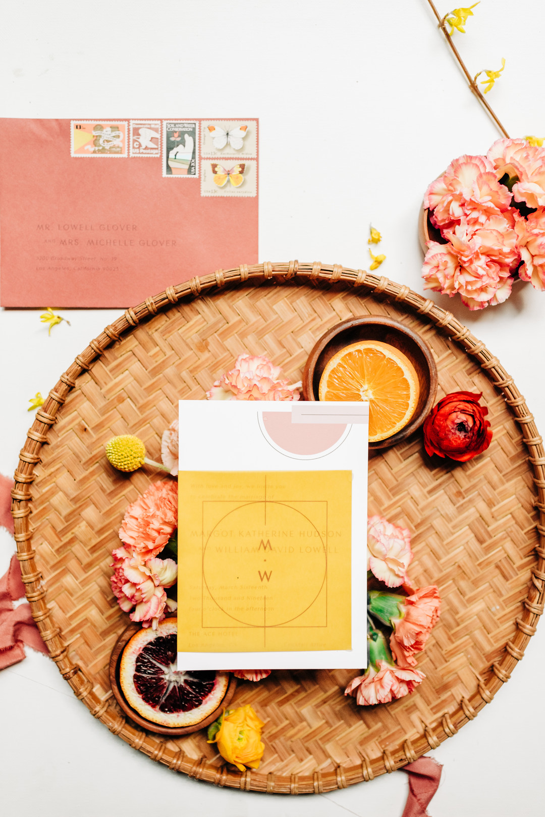 peach and yellow invites