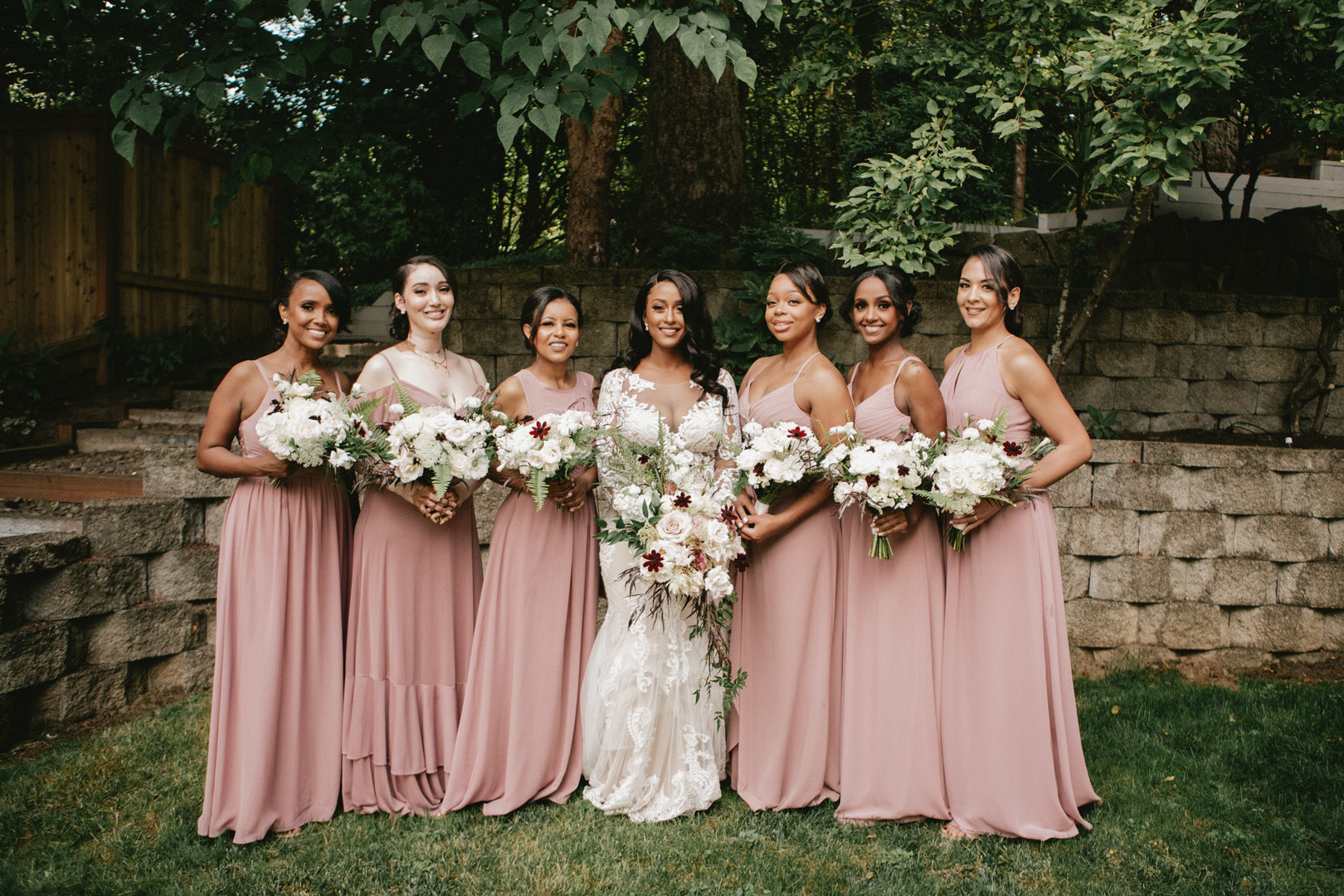 african american bride bridal party