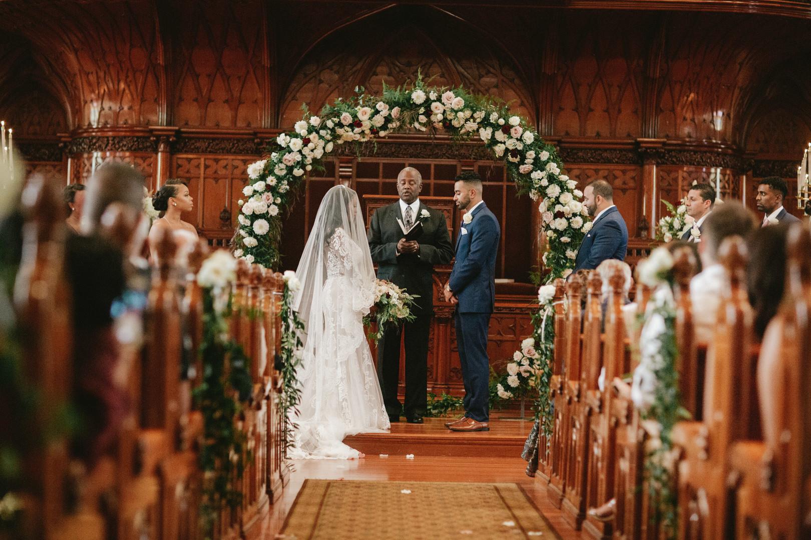 african american bride in church wedding ceremony