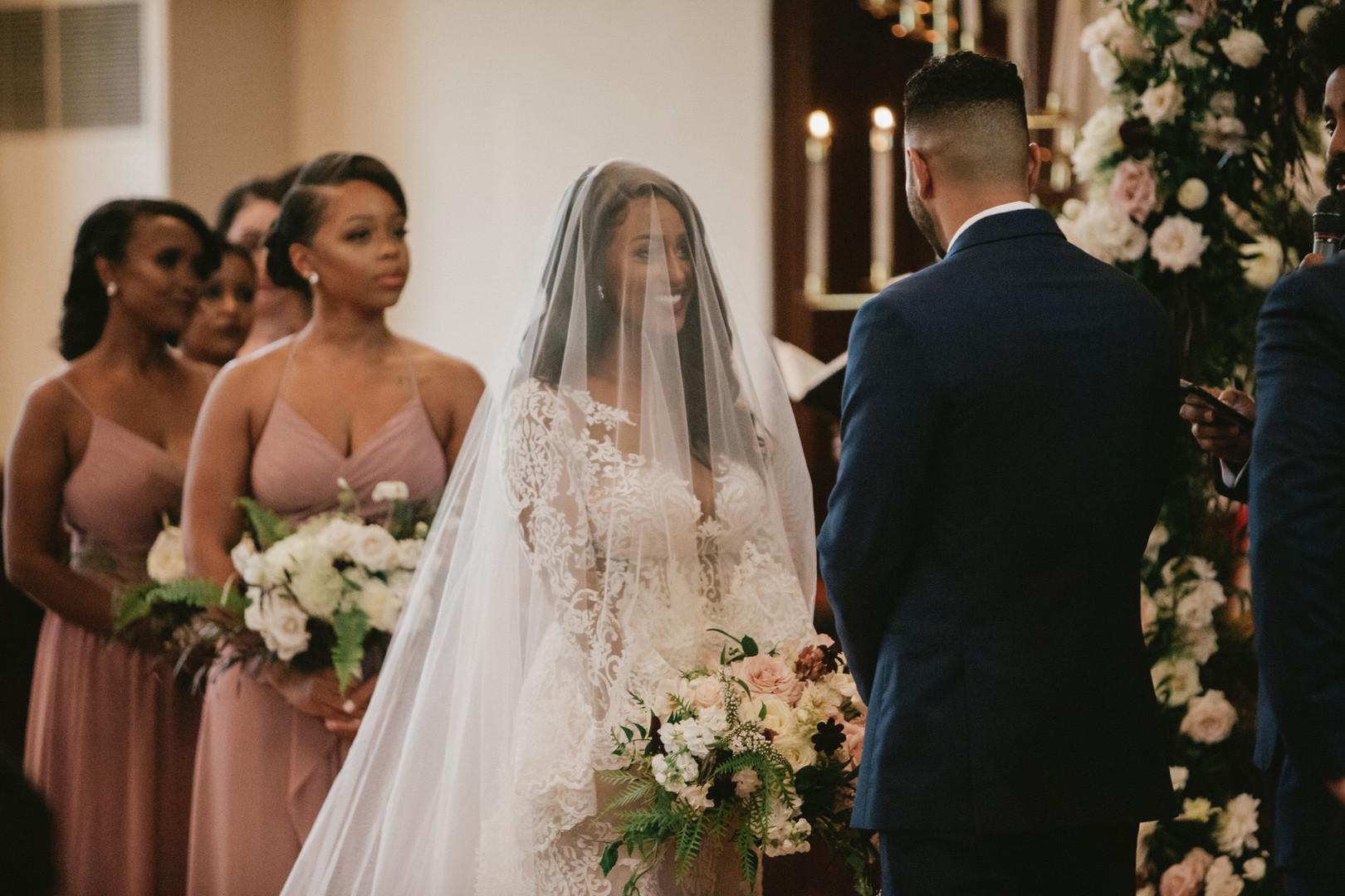 beautiful veil on black bride