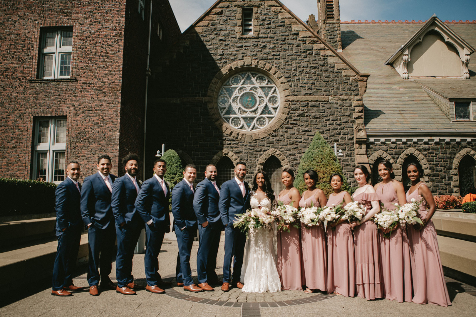 entire wedding party outside of church