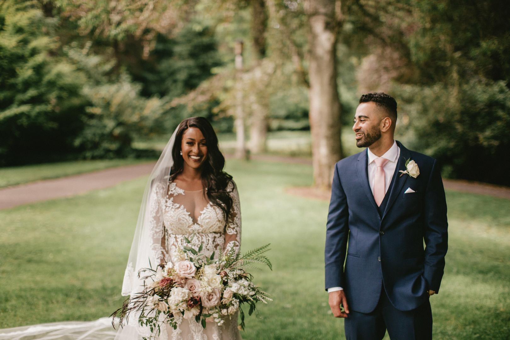 beautiful african american bride on wedding day