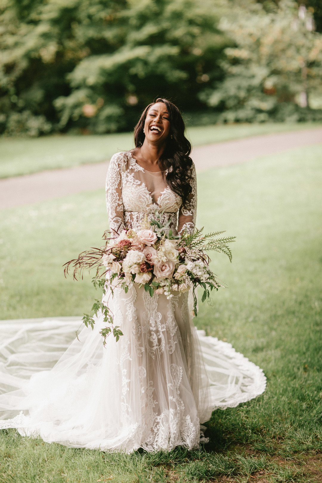 black bride laughing