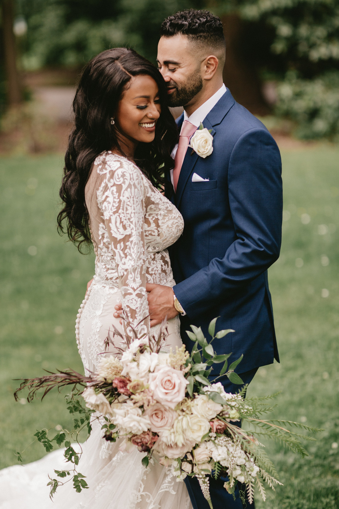 sweet moment african american bride and groom