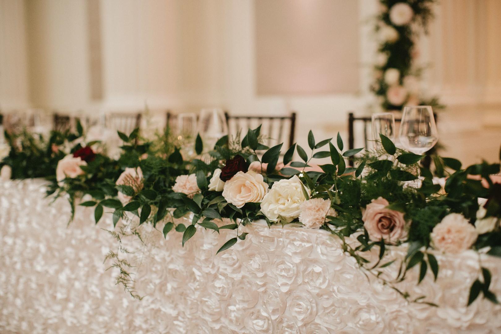 floral detail in wedding reception