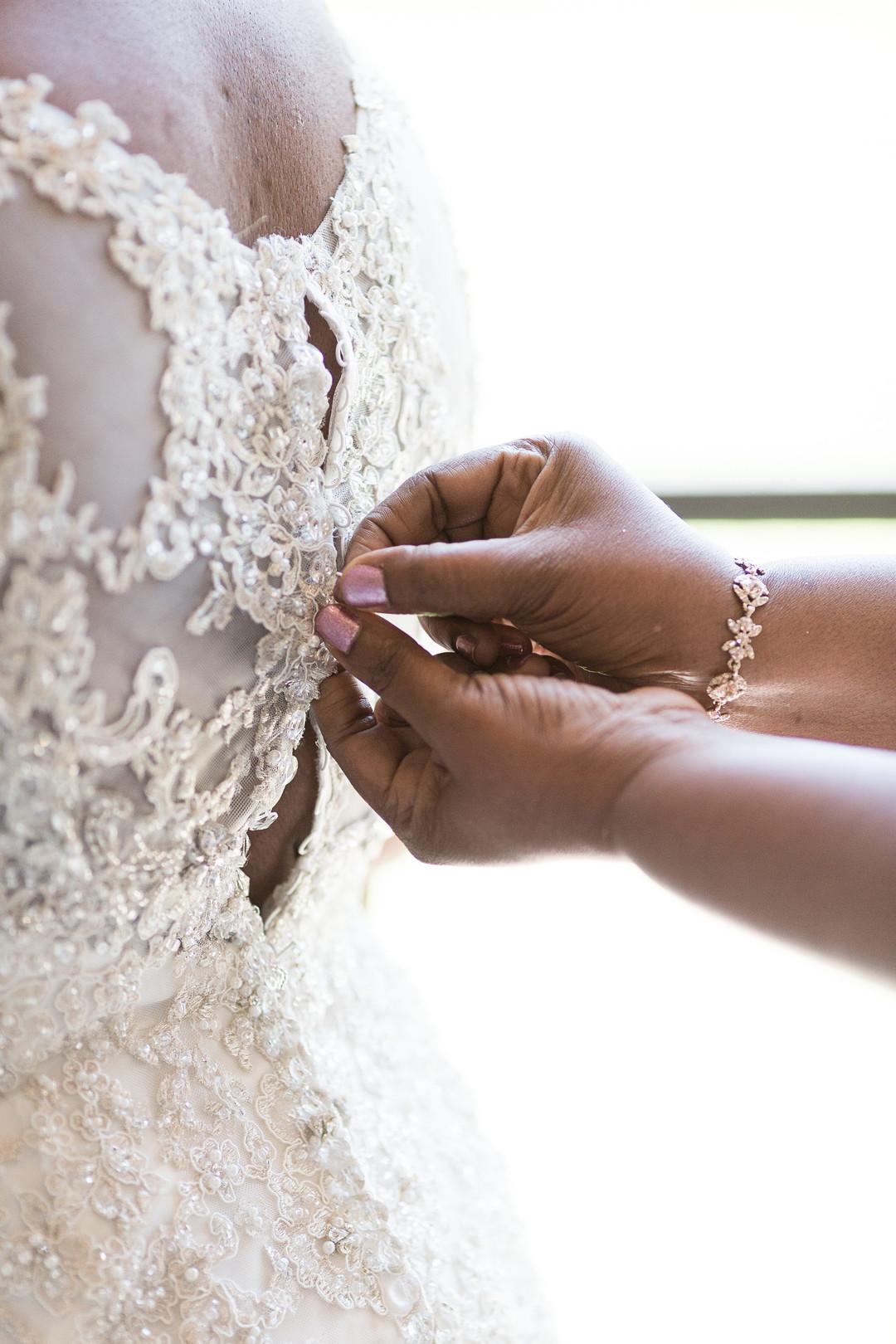 lace details on brides gown