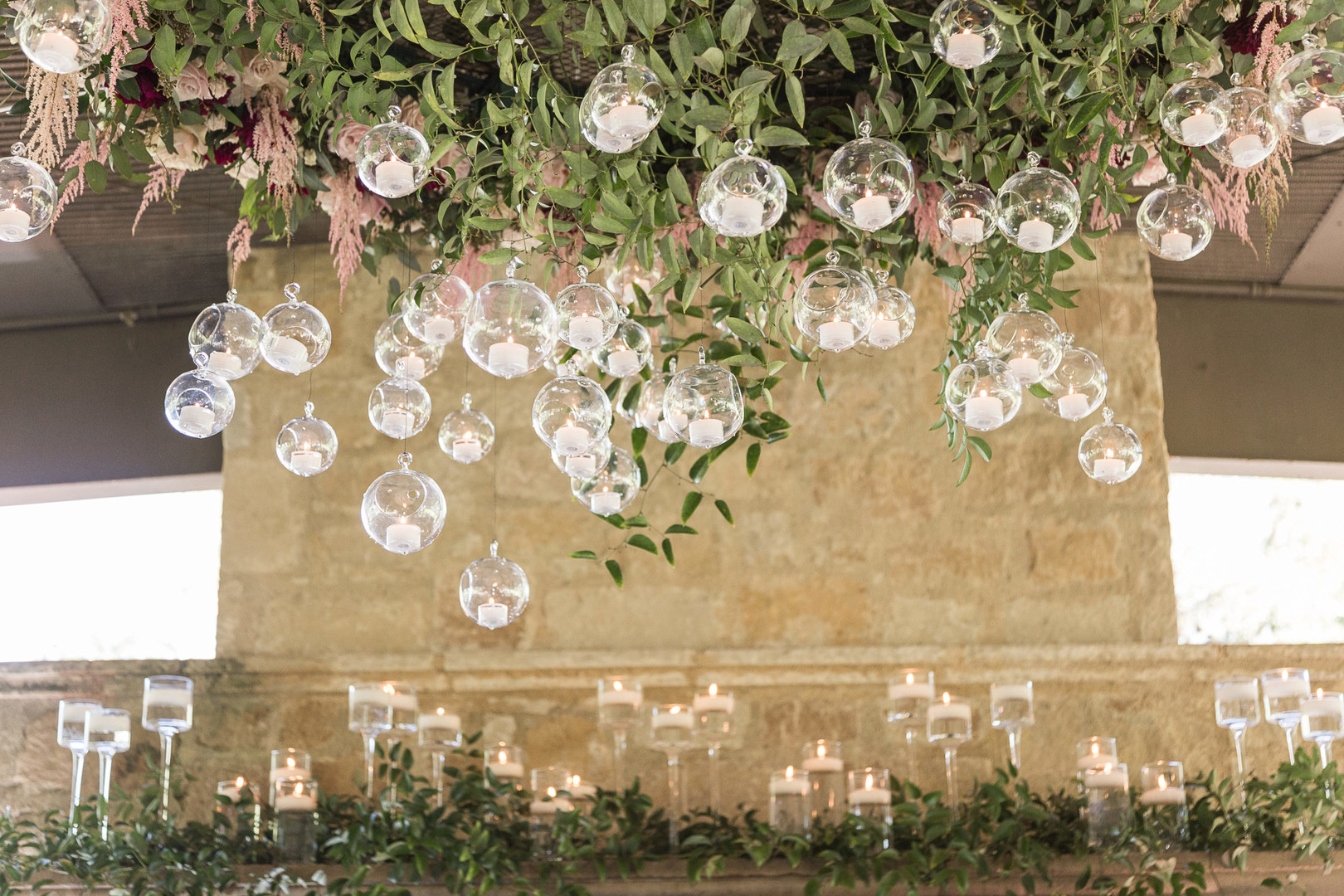 hanging candles in glass globes