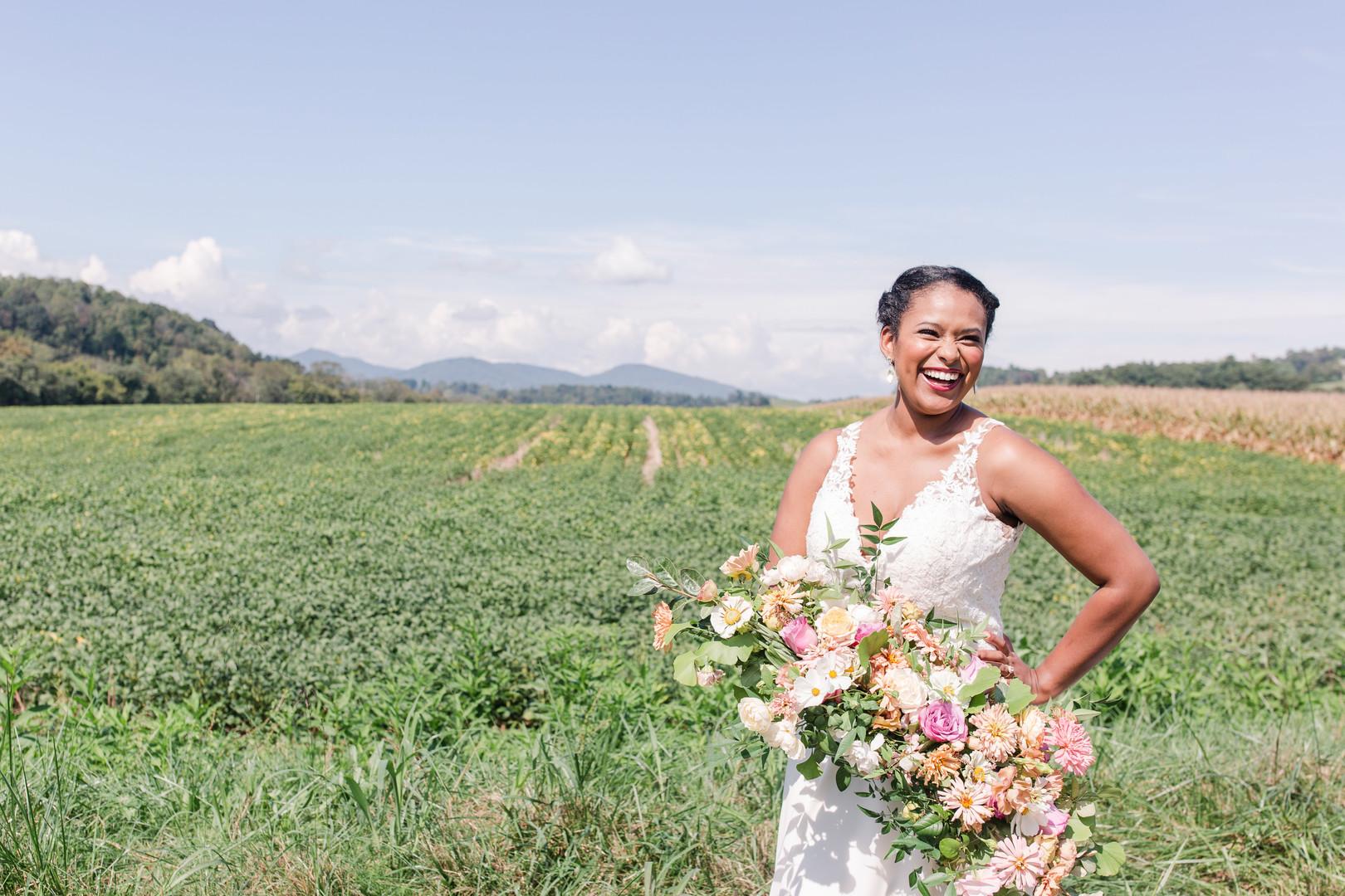 beautiful bride in open field