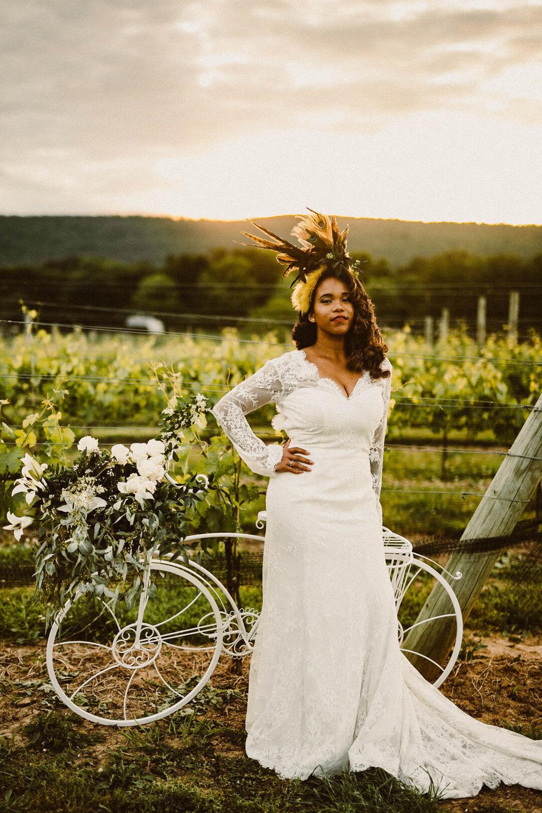 black bride with vintage bike