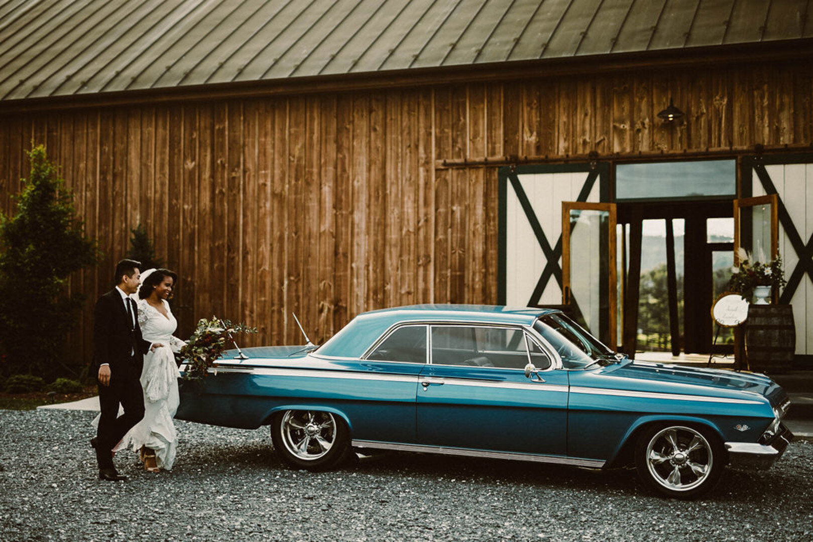 vintage wedding and car