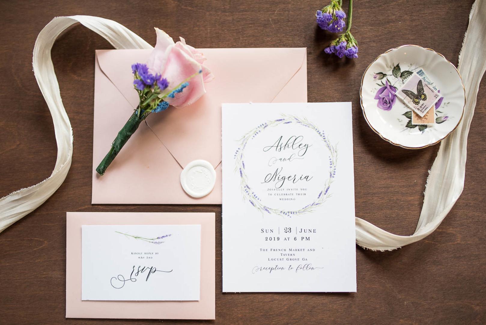 lilac and blush wedding stationary