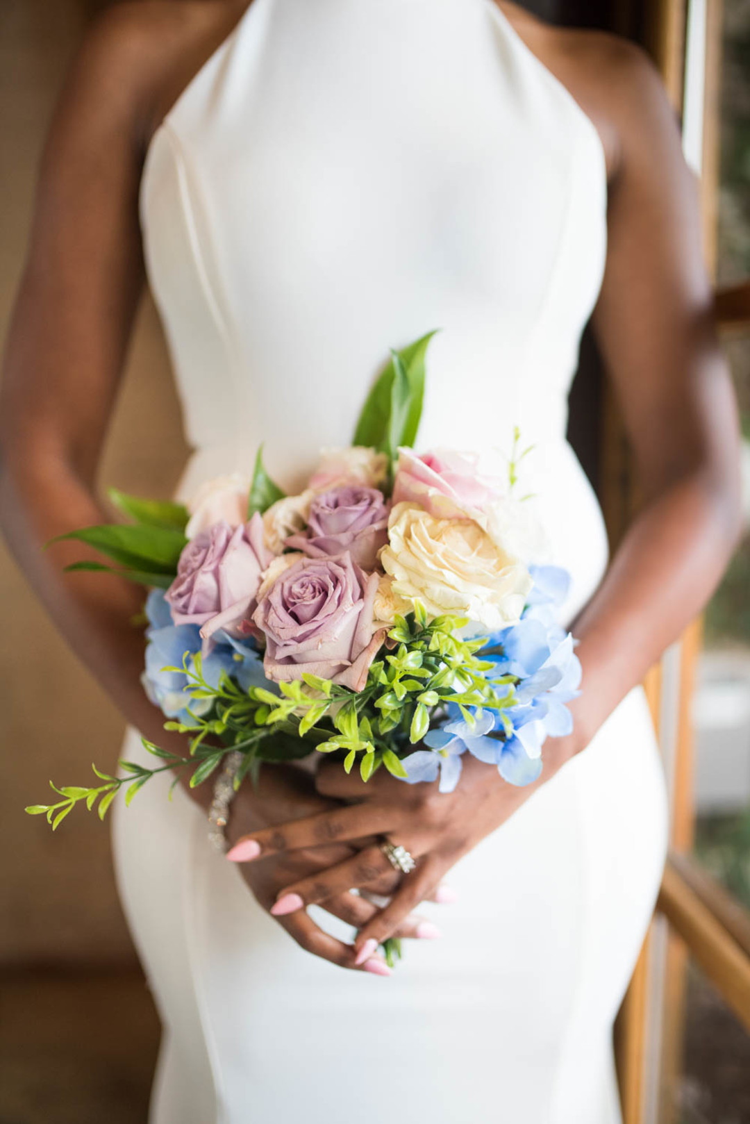 simple lilac, blue and blush bouquet