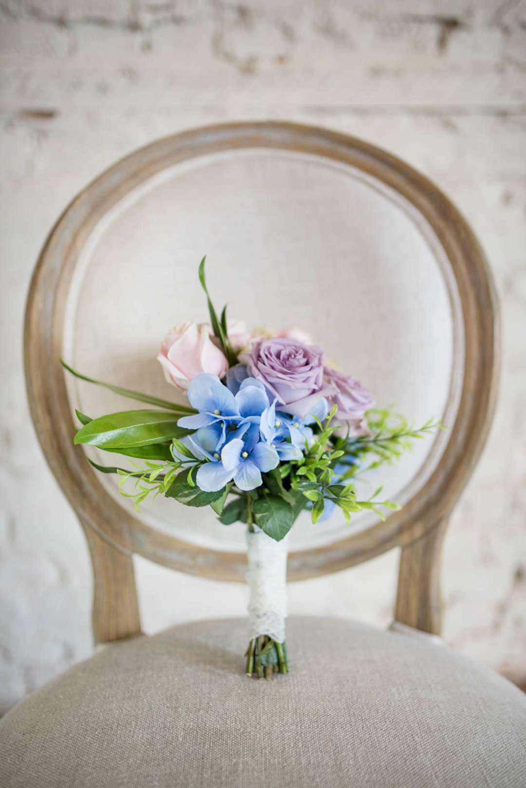 lilac, blue, and blush bouquet