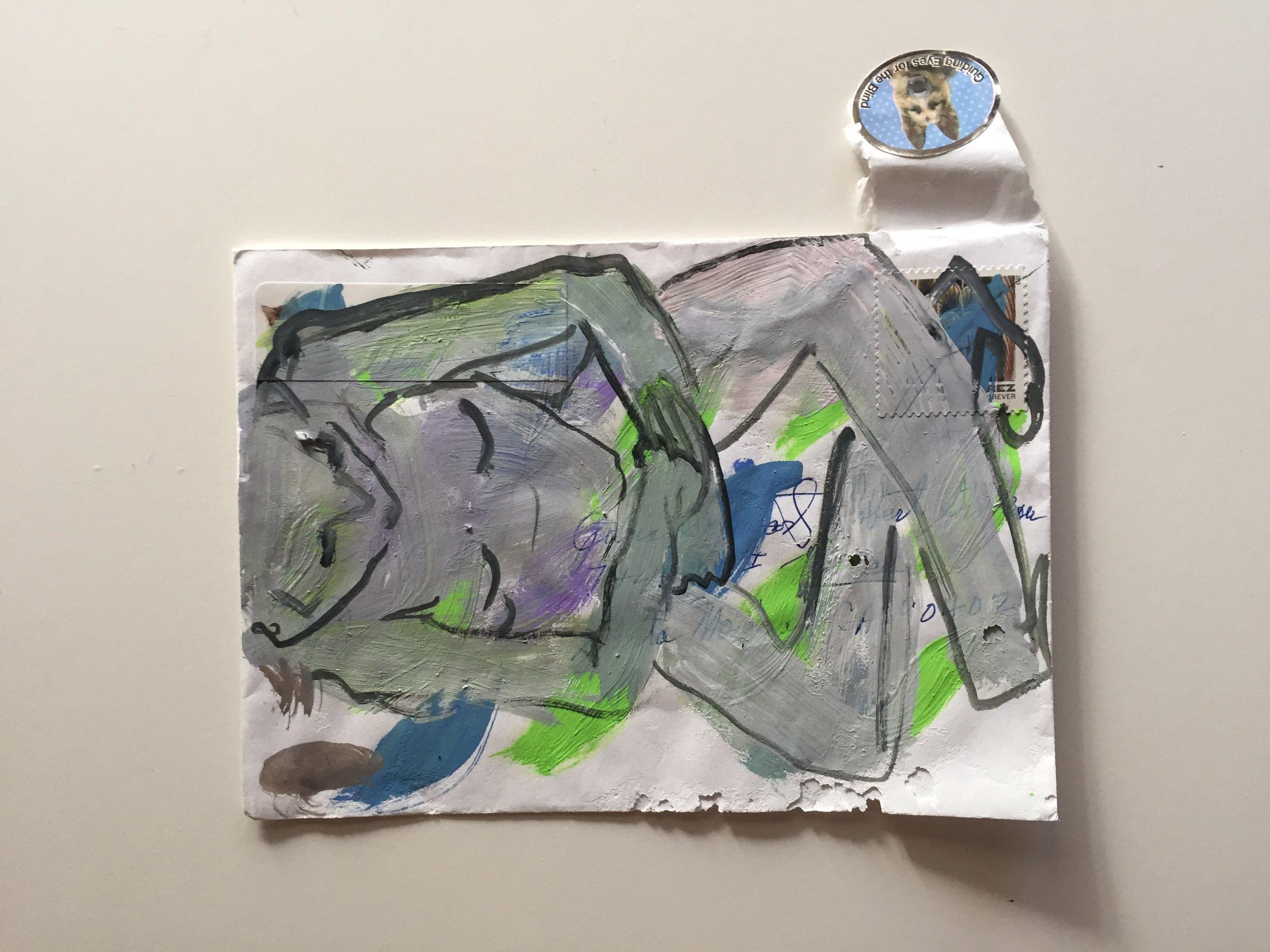seated figure 2018 gouache on envelope