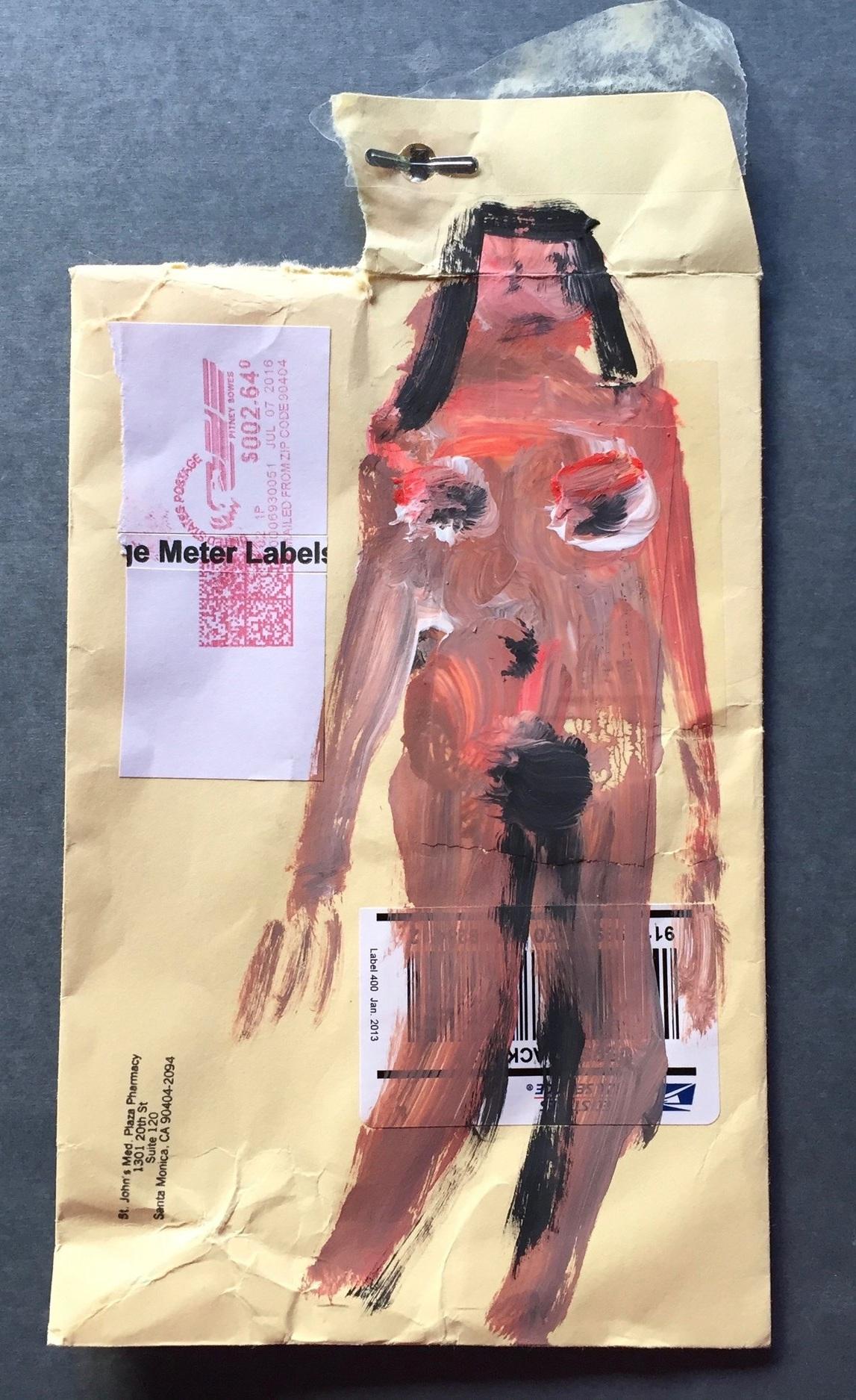 stand up 2017 gouache on manila envelope
