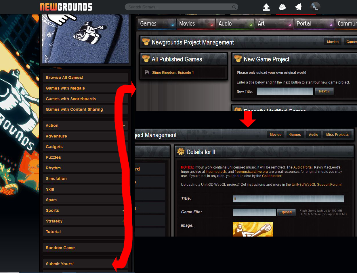 Here's how you can upload your new HTML5 complaint zip to NEWGROUNDS!