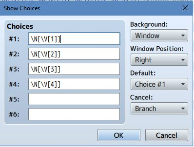 "Step 3 - Next, you have to set up a Choice menu to access the member of your party. All you need to do select Show Choices in the ""Choices"" boxes, you should type in this code \N[\V[1]], \N[\V[2]], etc. (See above Picture)Also, make sure you set the Cancel function to ""Branch"". This is so you can cancel this action if you change your mind."
