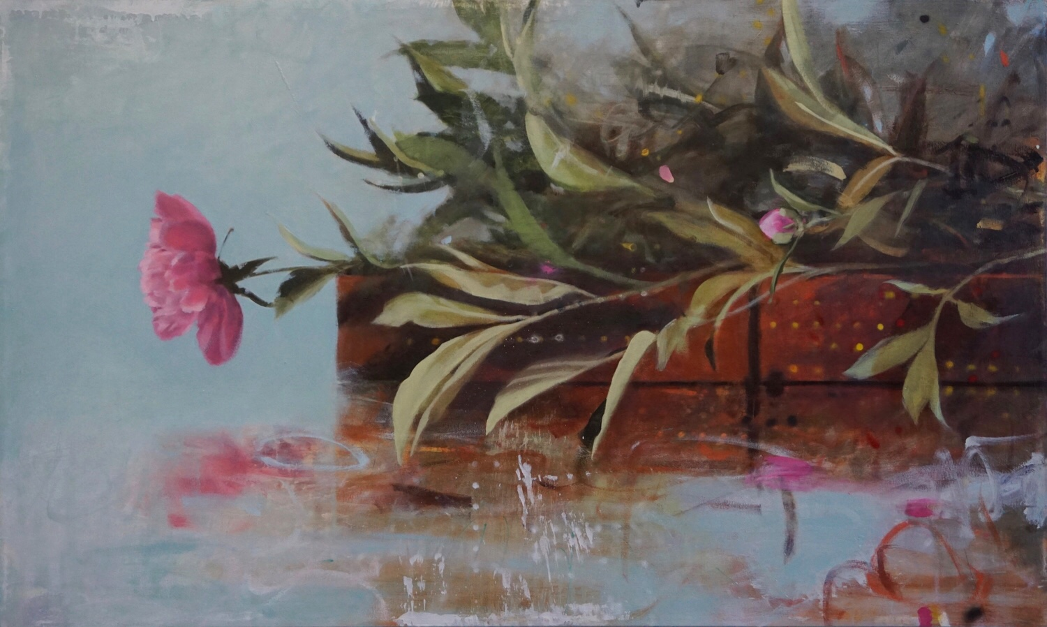 Peonies , Globe Fine Art  30 x 50, oil on canvas