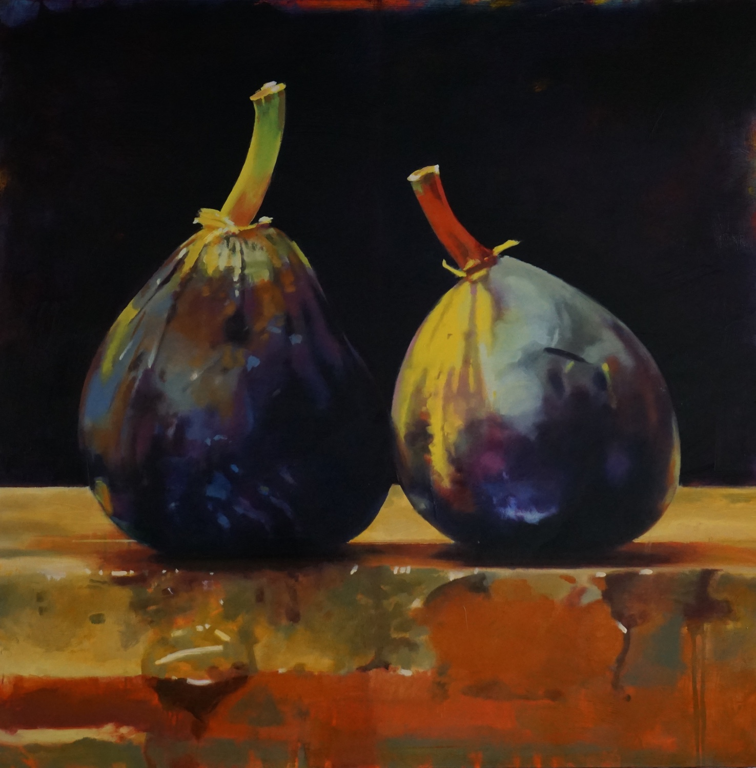 Two Figs,   Collection Four Seasons Denver  55 x 55, oil on panel