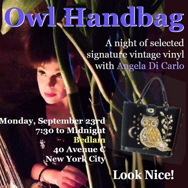 Tonight we are closed for a private event but one week from tonight will be a night of selected signature vintage vinyl with @missangedc  7:30 to Midnight Look Nice! #owlhandbag #eastvillage #livemusic #vintagevinyl