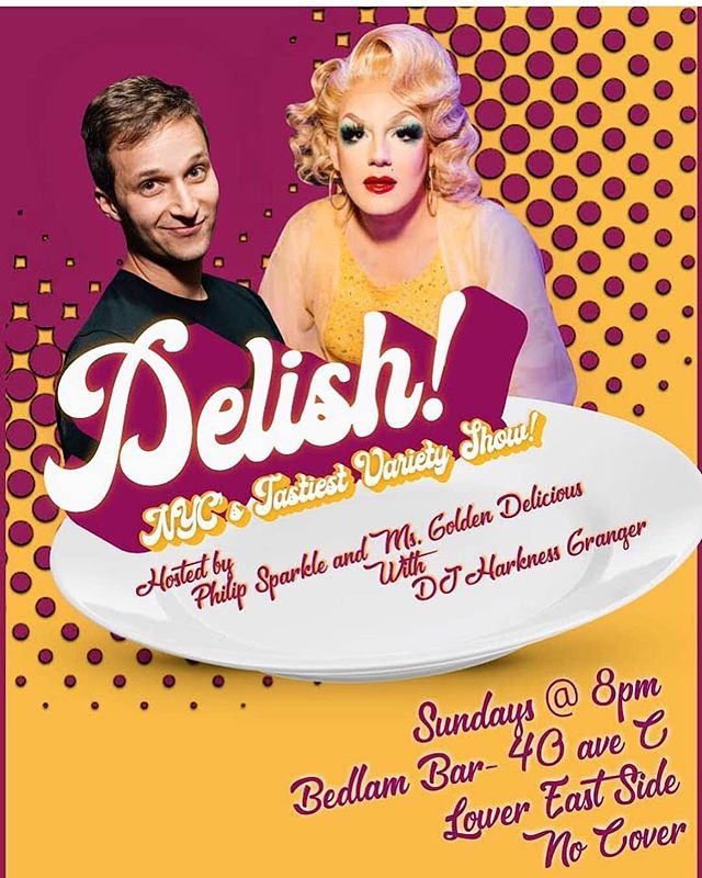 Posted @withrepost • @cholaspears 🍯🌟DELISH: NYC's Tastiest Variety Show returns TONIGHT @ Bedlam!🌟 Hosted by Golden Delicious & Philip Sparkle!🌟8pm!🌟 There's Comedians, there's Drag and there's probably music too!🌟🍯dragqueen #westvillage #midtown #timessquare  #bk #brooklyn #nyc #nycdragqueen #lgbt #lgbtqiaa #gay #queen #queer #Manhattan  #dragshow #queens #astoria #icon #gaybar