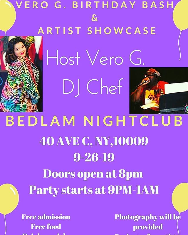 Posted @withrepost • @captainclutch80 Everyone is invited to my Official Birthday Bash @bedlamnyc on Thursday night 9-26 in the L.E.S. @8pm-2am for fun, drinks, food live dj, music, artist performances and more with your favorite girl Vero G @divandiamonds RSVP with me now hope to see you all there it's gonna be LIT!!! 🔥🔥🔥😎 #birthday ##birthdaygirl #verog #birthdaybash #party