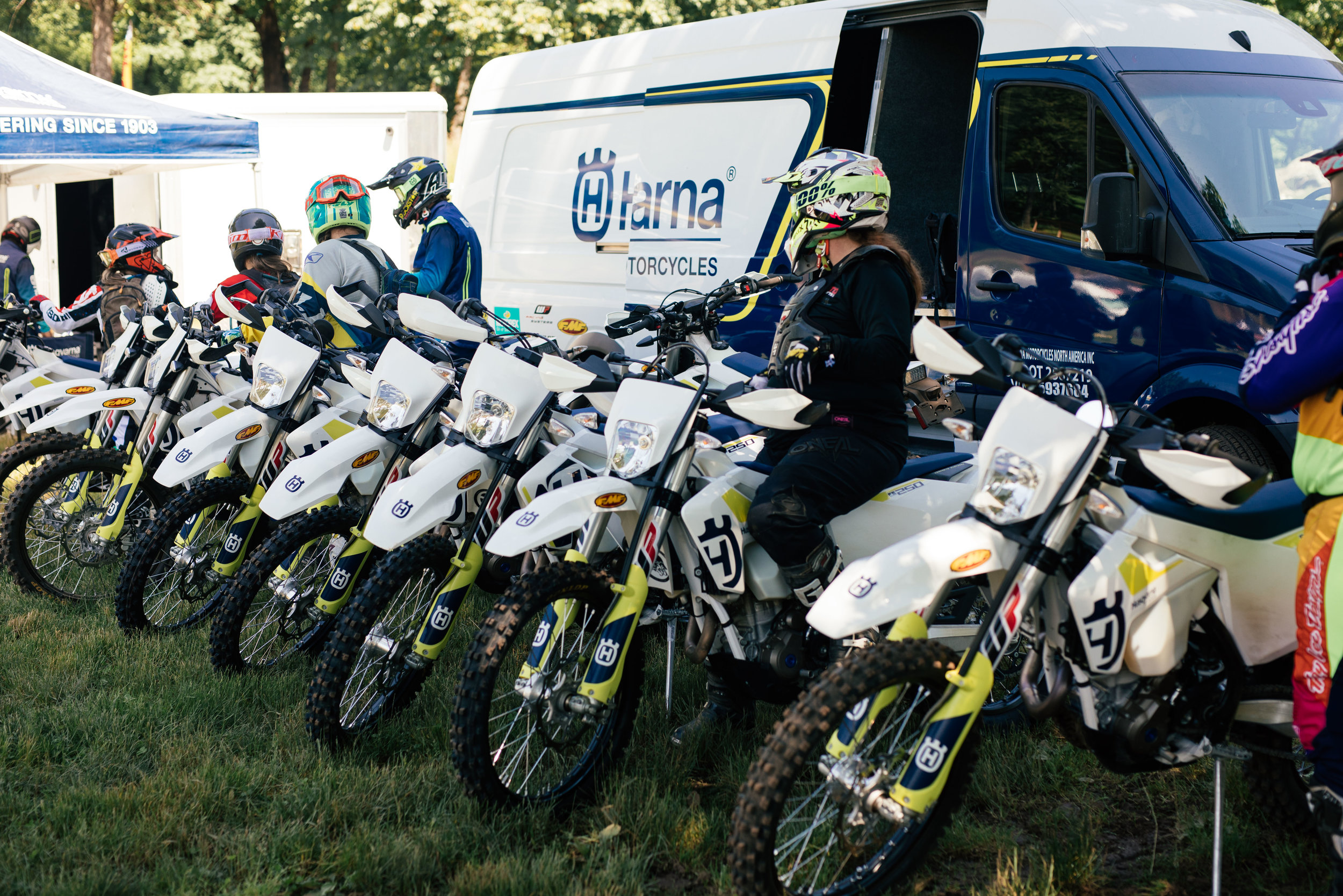 Husqvarna Motorcycles led demo rides during The Main Event on the off-road trail loop around the property with a fleet of FE250's that were set up to accommodate a smaller/lighter built rider as many women are.