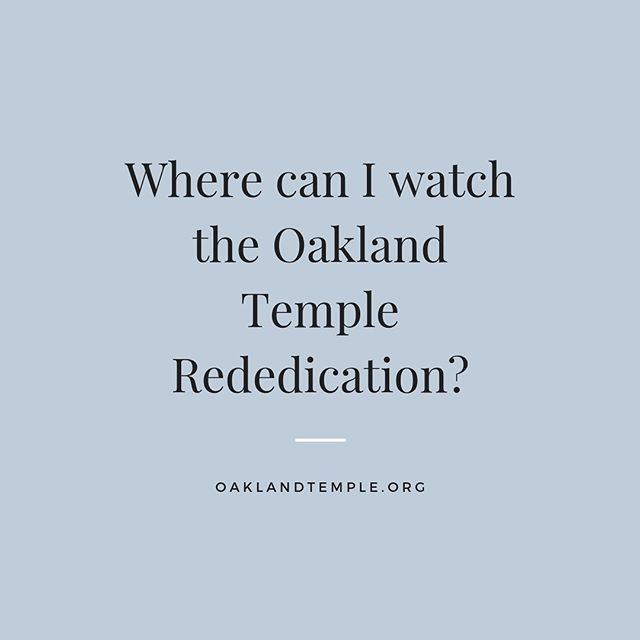 The Oakland Temple Rededication is this upcoming Sunday, June 16th. The Rededication will be broadcast to stake centers within the 31 stakes of the Oakland Temple District. Please contact your Bishopric or Stake Leaders to know where your stake will be viewing the Rededication. There will be three Rededication sessions held at 9am, 12pm, and 3pm. These broadcast sessions will be an extension of the Oakland Temple, and as a result, only members of The Church of Jesus Christ of Latter-Day Saints with a temple recommend will be admitted into the building. Children younger than 8 years old, including babies, will not be admitted. If you need a rededication recommend, please see a member of your Bishopric.