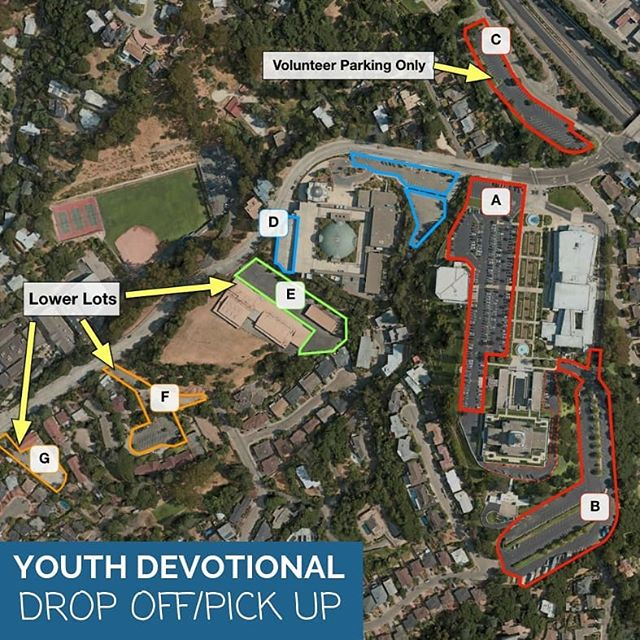 We have made the following assignments for DROP OFF & PICK UP for the Youth Devotional to help alleviate traffic congestion and wait times for your youth who are traveling by car. Please drop off/pick up youth in these assigned locations: . Lot A (main Temple lot): Concord, Pleasanton . Lot B (lower Temple lot): Antioch, Fremont, Los Altos, Manteca, Modesto, Modesto North, Monterey, Morgan Hill, San Jose, San Jose South, San Rafael, Santa Cruz, Santa Rosa, Saratoga, Turlock, Walnut Creek . Lot C (Temple lot north of Lincoln): Danville . Lot E (Ability Center): Menlo Park, Oakland East – PLAN TO HIKE UP TO THE TEMPLE FROM THIS LOCATION . Lot F (Head Royce south lot): Oakland, San Francisco, San Leandro, San Mateo – PLAN TO HIKE UP TO THE TEMPLE FROM THIS LOCATION . Lot G (Head Royce south lot): Napa, San Francisco East – PLAN TO HIKE UP TO THE TEMPLE FROM THIS LOCATION . Lot H (main Head Royce north lot): Fairfield, Hayward, Livermore, Ukiah – PLAN TO HIKE UP TO THE TEMPLE FROM THIS LOCATION . We have also made 5 viewing locations available for adult drivers to watch the devotional. Go to our Parking highlights 👆 for each stake's assignments.