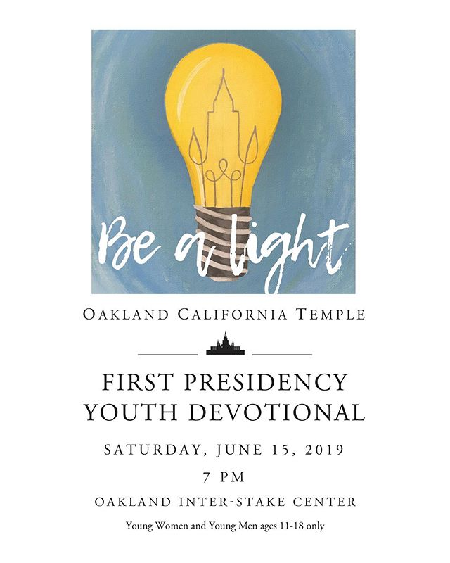 The Oakland Temple Youth Devotional is tonight! This devotional is for all youth ages 11-18 in the 31 stakes of the Oakland Temple District. Doors open at 5pm. The devotional starts at 7pm at the Oakland Interstake Center. Go to @oaklandtempleyouth for more details about parking and the event. ** Please note, the devotional will be broadcast to Stake centers throughout the Temple district. If you would like to watch, check with your Stake to see where it is being broadcast. Only youth ages 11-18 are invited to attend the devotional at the Interstake Center (no adults).