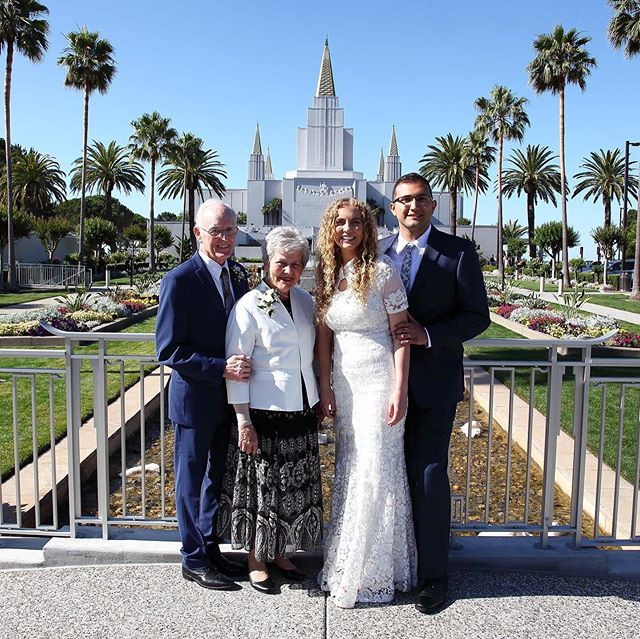 In 1964 the Stewarts were the first couple to be sealed in the Oakland Temple. On Tuesday, June 25th, they came back to enjoy the sealing of Mr. and Mrs. Holden, the first couple to be sealed since its recent rededication. . Photos: Kourtney Jex Jarvis