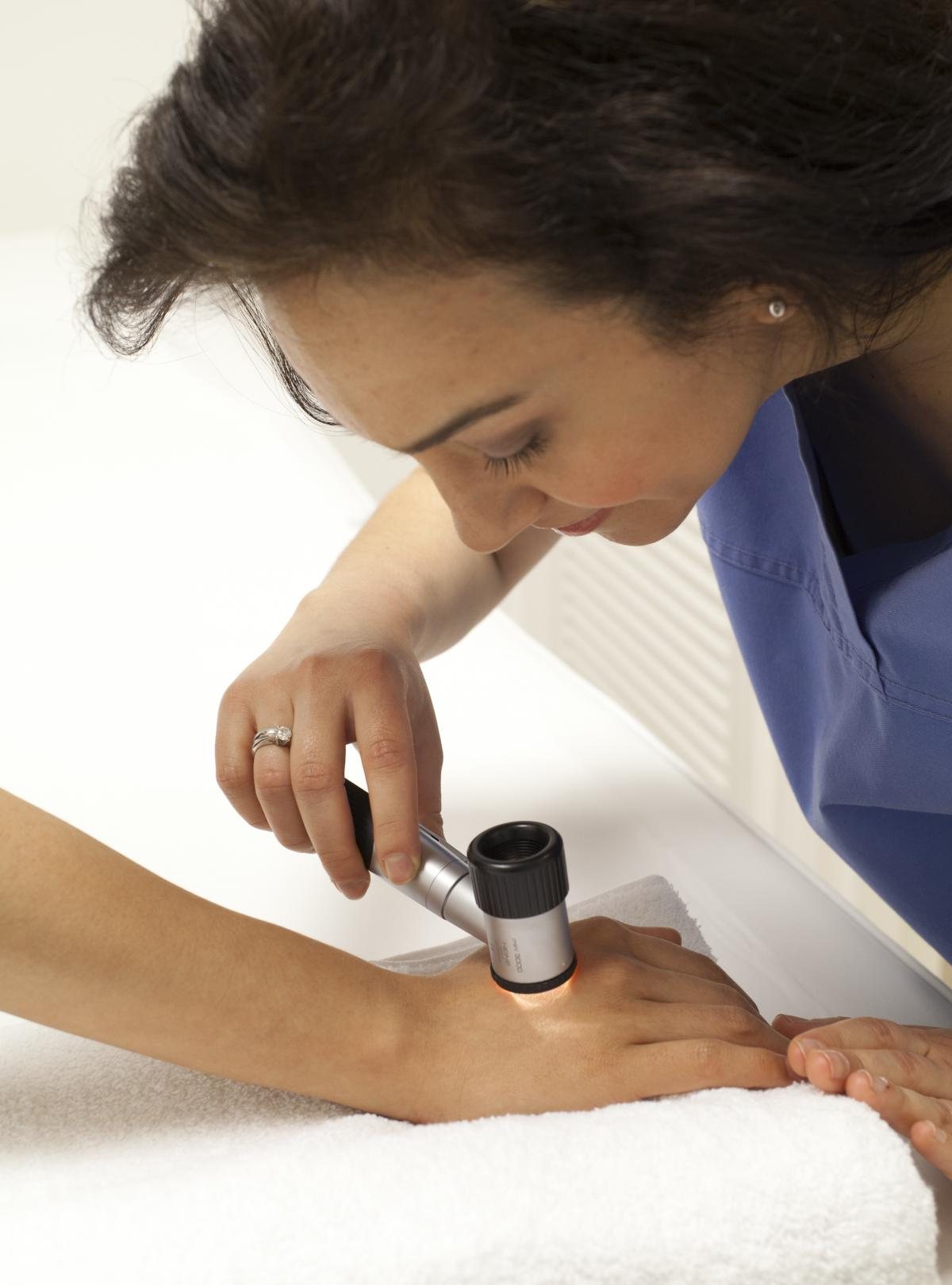 Skin dermoscopy by fully trained Consultant Dermatologists
