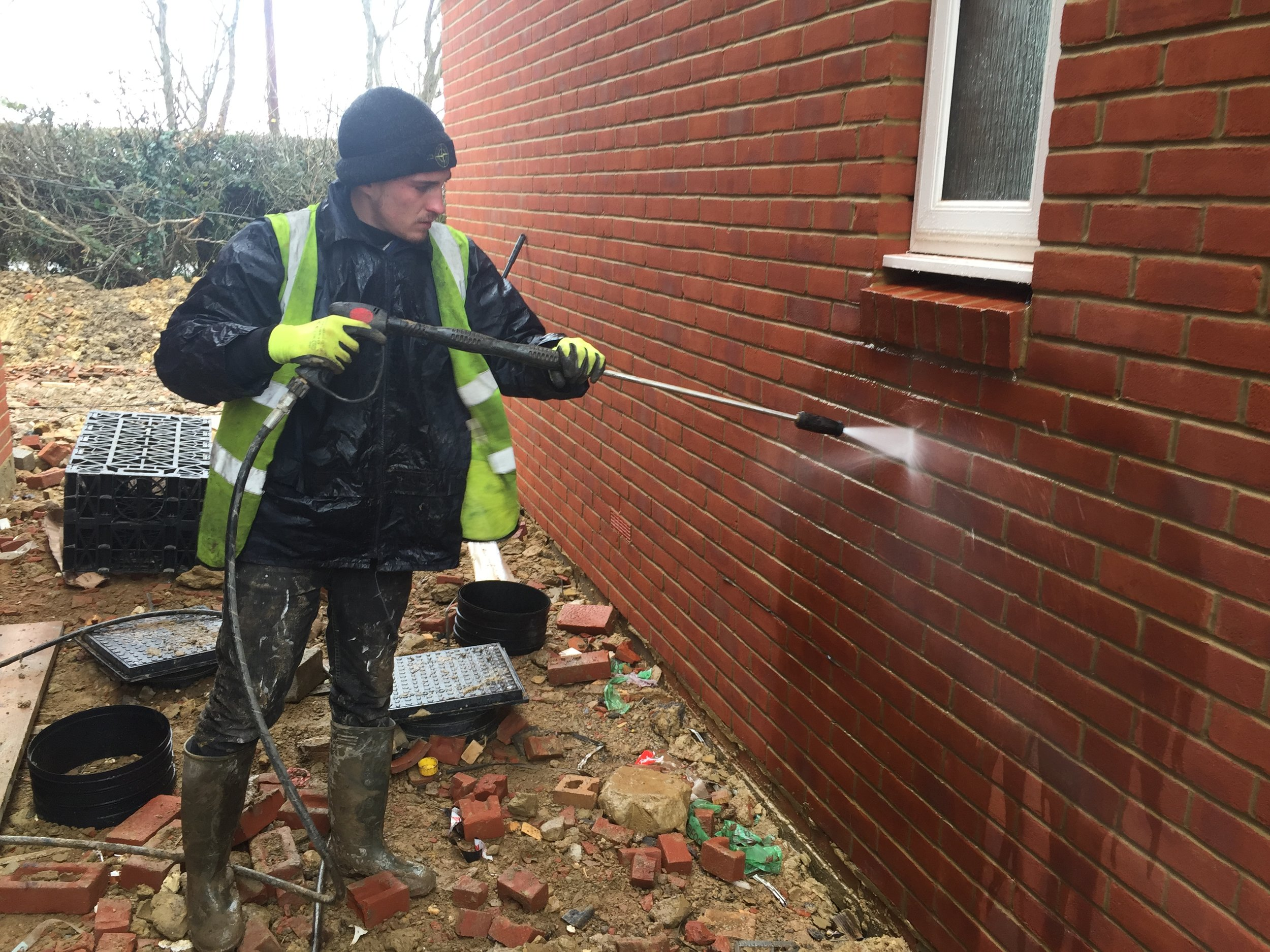 brick work cleaning expert - We have years worth of experiance in cleaning new brick work removing cement stains and cement snots from the construction period. We use a varioty of chemicals on stain just to help loosen the stains before pressure washing.