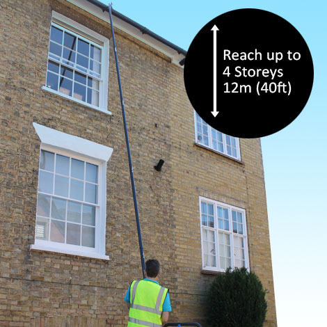 gUTTER CLEANING WITH THE LATEST SKYVAC - Gutter cleaning with the latest Skyvac gutter cleaning systems enables us to clean all gutters from the ground. No need for ladders or expensive equiptment such as scaffolding or cherry pickers.