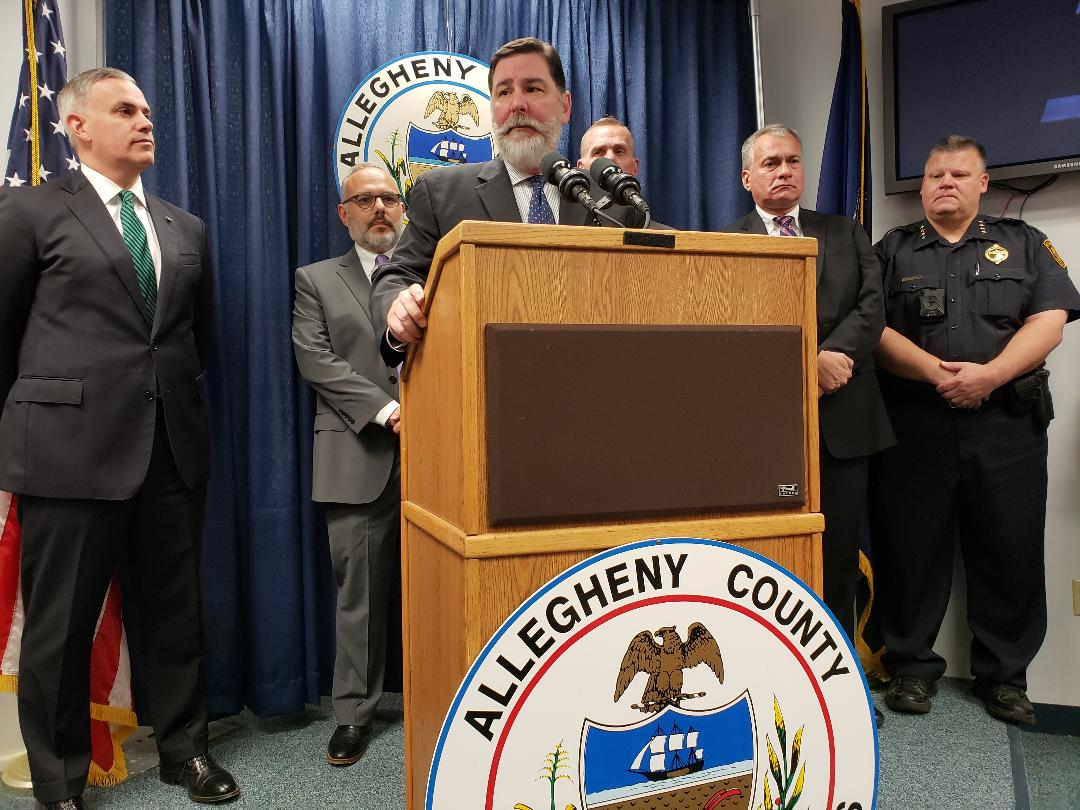 Pittsburgh Mayor William Peduto and other officials brief the media the day after the shooting at the Tree of Life synagogue. Photo by Nick Keppler for The Daily Beast.