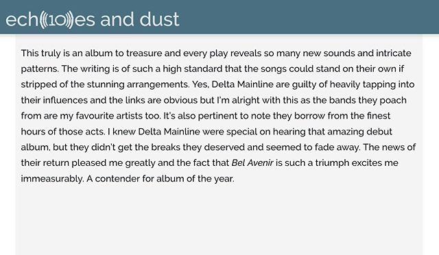 """A contender for album of the year"". Great Bel Avenir review from Echoes & Dust - worth reading the full thing and their take on each album track 😀 . #belavenir19 #newmusic #newmusicalert #newmusic2019 #brandnewmusic #newalbum #newalbum2019 #newrecord #newvinyl #vinyl #vinylrecords #music #dreampop #shoegaze #krautrock #psych #alternative #alternativemusic #scottishmusic #review #reviews #albumreview #albumrelease #music #musicjournalism"