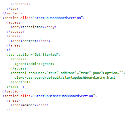 Use HTML-style comments to remove dashboards.