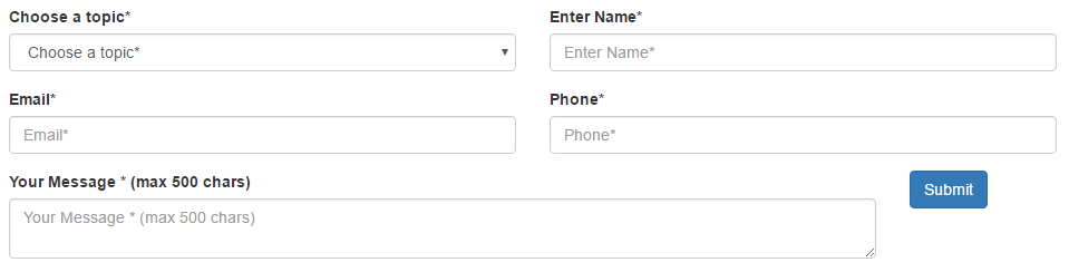 The message field is taking up 10/12 columns and the button is using 2/12columns.