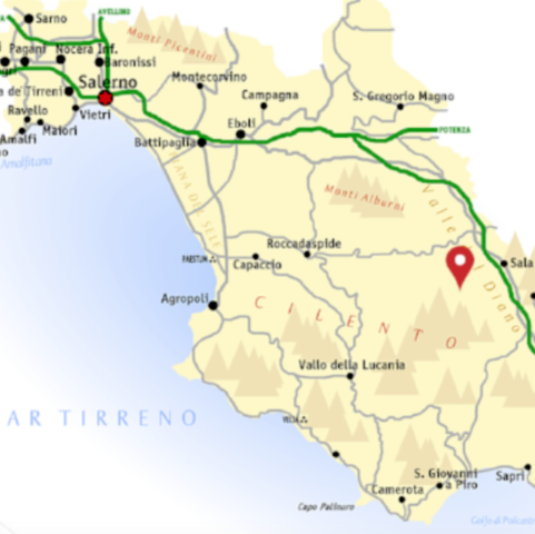 Map of Cilento and Teggiano