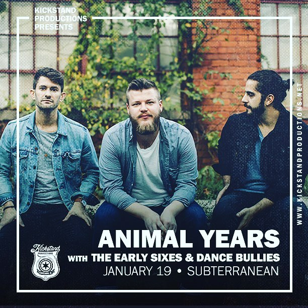 Show Announcement! Very excited to share that we'll be supporting @animalyearsmusic at @subtchicago on January 19th. Saturday show and our first of the new year. Great to be supporting a band we've been jamming to on our Spotify playlists. Tickets on sale on Songkick. This will be a great one. . . @kickstandproductions #concert #earlysixes #animalyears #livemusic #chicagoconcerts #folk #americana #singersongwriter #musicgram #localmusic #chicagogram #show #music #instamusic #subterranean #wickerpark #chicagoshows