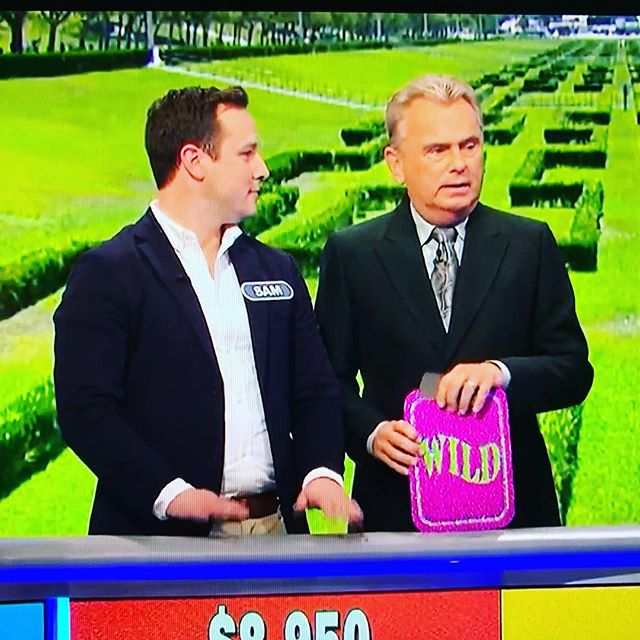 Nbd. That's just our very own bassist Sam on @wheeloffortune being congratulated by Pat Sajak after he ran the board and solved a puzzle. Catch him tonight on wheel!  #wheeloffortune #musically #band #gameshow #wheel #earlysixes #folkmusic #bandonwheel #samonwheel