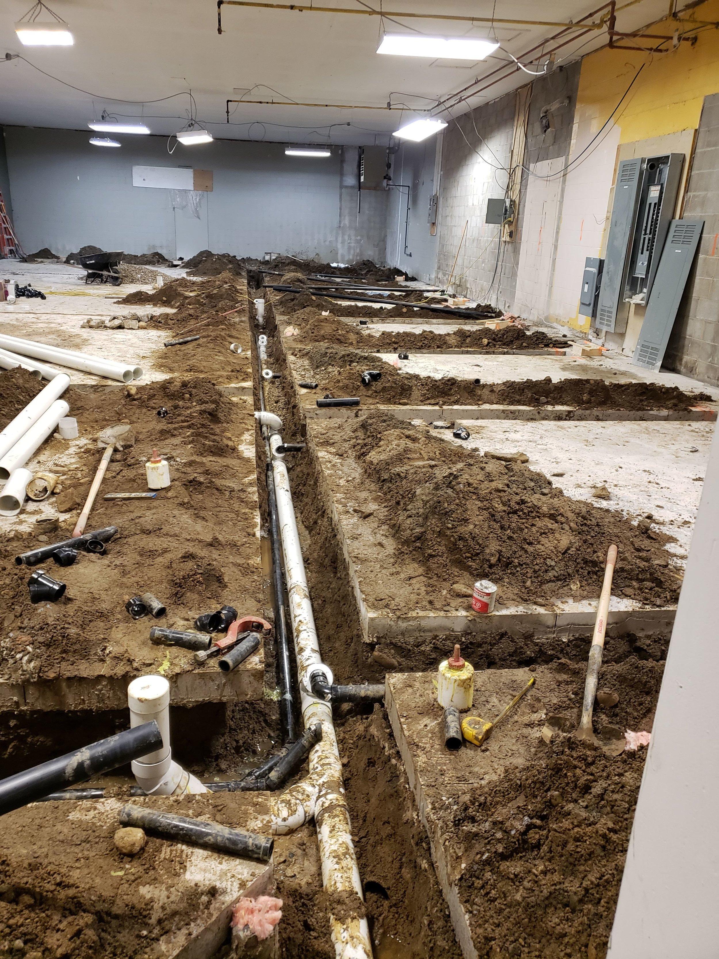 Concrete cut and drains set up.