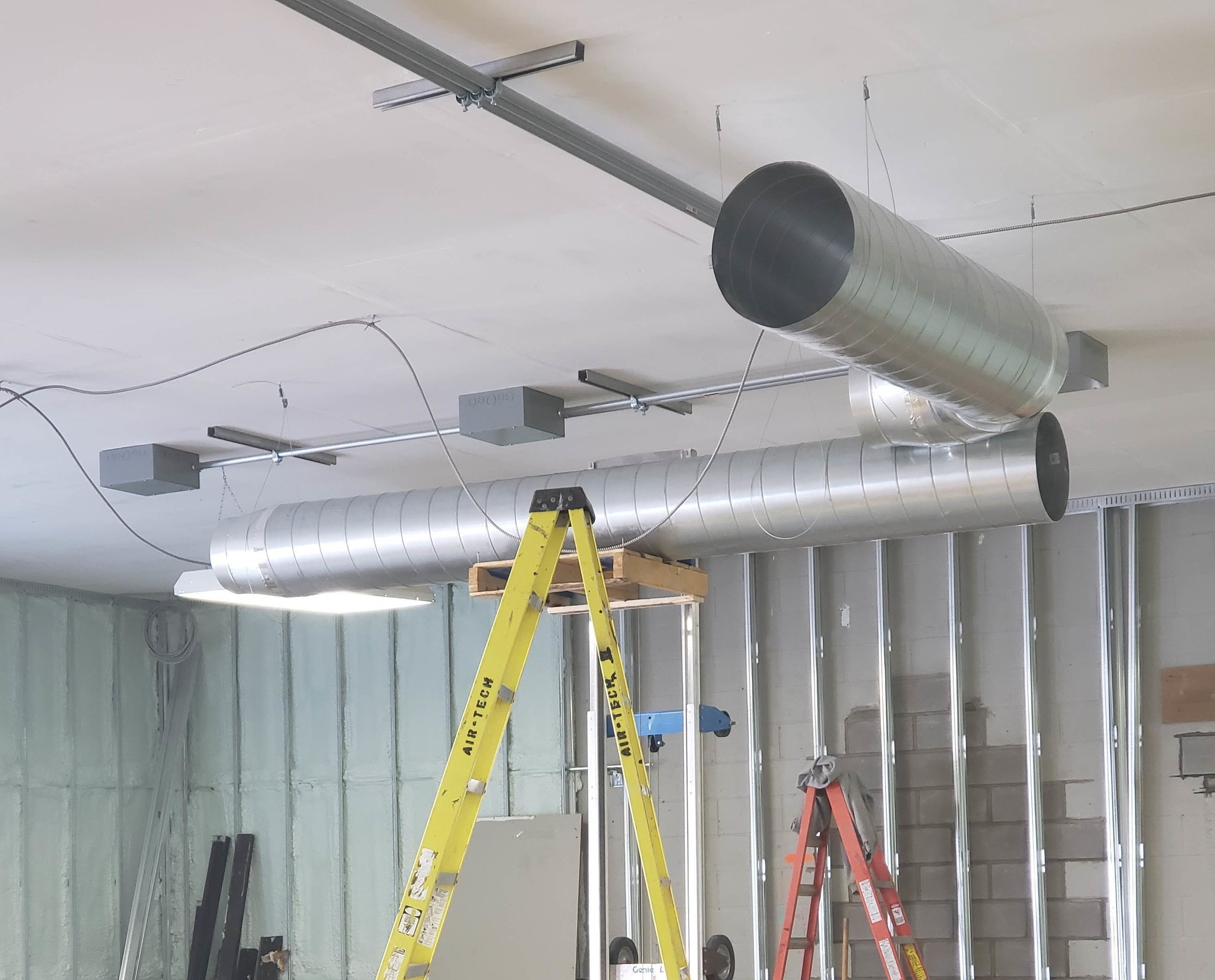 New duct work going in to keep things nice and toasty!
