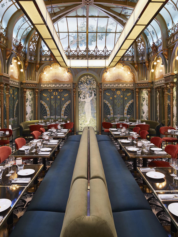 restored vintage restaurant banquette seating