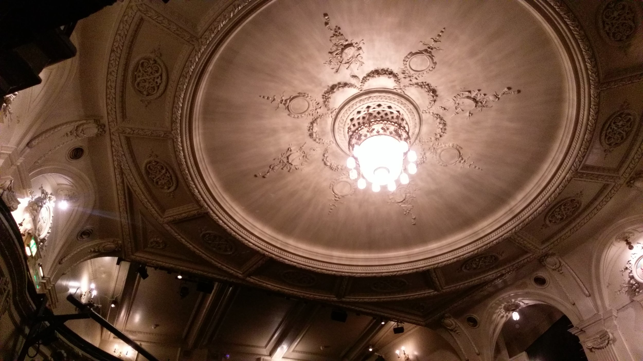 The royal icing ceiling at the Ambassadors Theatre
