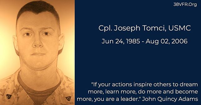Corporal Joseph A. Tomci of Stow, Ohio. Jun 24, 1985 - Aug 2, 2006  Cpl. Tomci (21) died while conducting combat operations in Al Anbar province, Ar-Ramadi, Iraq. He was assigned to the 3rd Battalion, 8th Marine Regiment, 2nd Marine Division, II Marine Expeditionary Force, Camp Lejeune, North Carolina.  #allgavesome #somegaveall #neverforgotten #marine #marinecorps #usmc #semperfidelis #38vfr