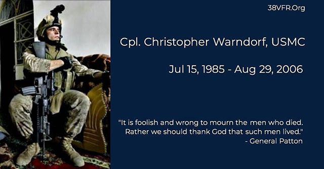 Corporal Christopher T. Warndorf of Burlington, Kentucky. Jul 15, 1985 - Aug 29, 2006 Cpl. Warndorf (21) died while conducting combat operations in Al Anbar province, Ar-Ramadi, Iraq. He was assigned to 3rd Battalion, 8th Marine Regiment, 2nd Marine Division, II Marine Expeditionary Force, Camp Lejeune, North Carolina.  #allgavesome #somegaveall #neverforgotten #marine #marinecorps #usmc #semperfidelis #38vfr